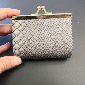 Handbags - Coin Purse Gray Snakeskin Print
